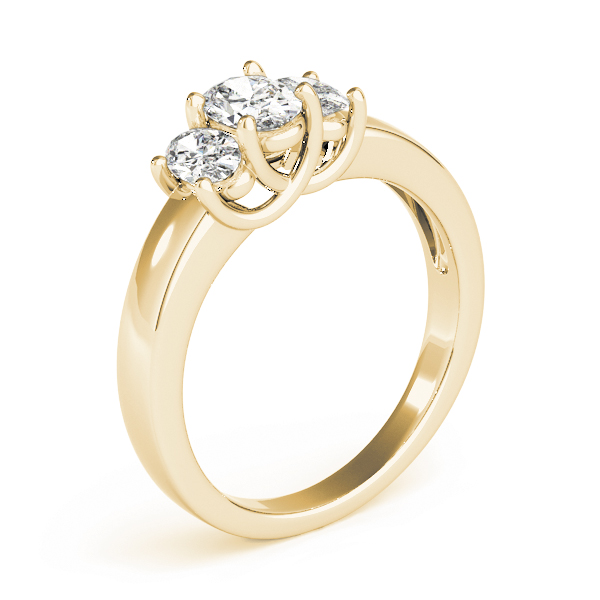 Three Stone Oval Diamond Engagement or Anniversary Ring in Yellow Gold