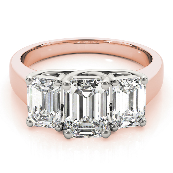 Three Stone Emerald Cut Diamond Engagement or Anniversary Ring in Rose Gold