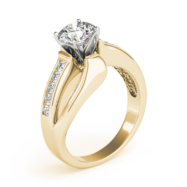 Swirl Split-Band Diamond Engagement Ring in Yellow Gold