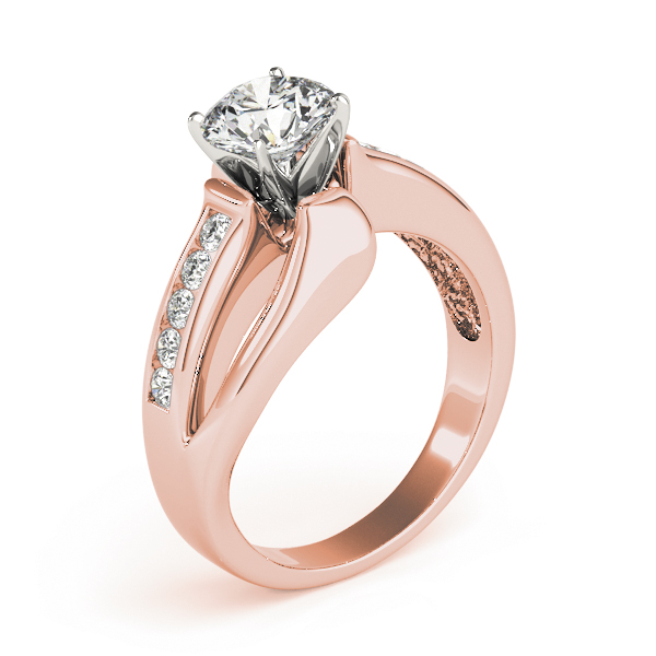 Swirl Split-Band Diamond Engagement Ring in Rose Gold
