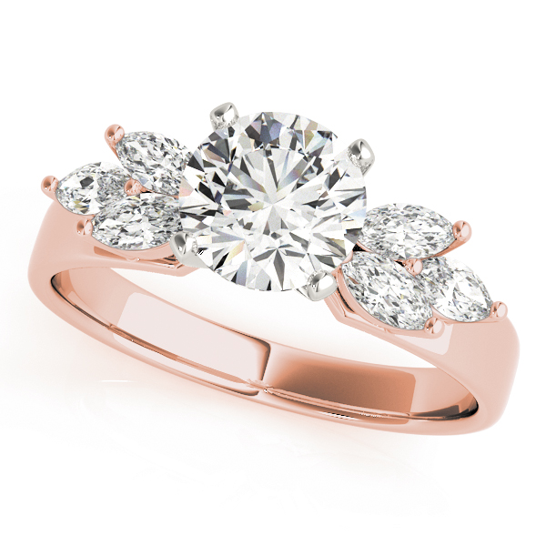 Open Petals Diamond Engagement Ring in Rose Gold