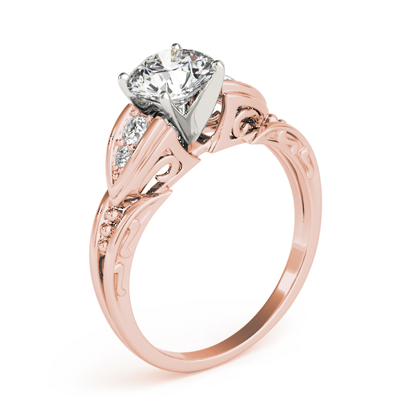 Art Deco Diamond Engagement Ring with Filigree & Engraving in Rose Gold