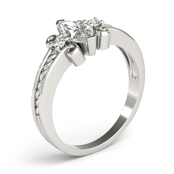 3 Stone Marquise Rope Filigree Engagement Ring