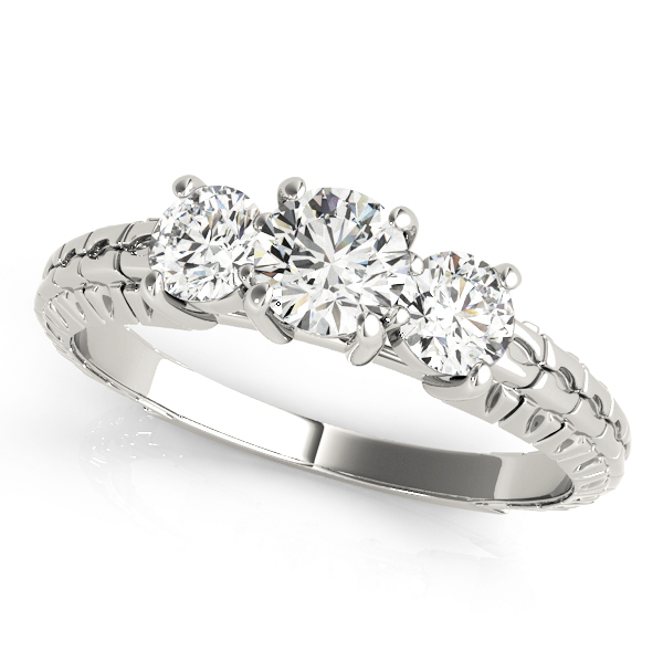 Three Stone Diamond Engagement Anniverary Ring Engraved Band