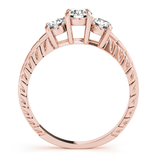 Three Stone Diamond Engagement Anniverary Ring Engraved Band in Rose Gold