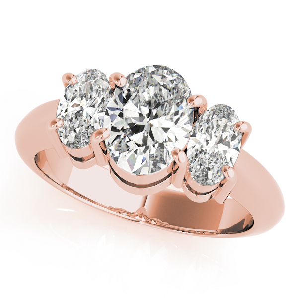 Classic Three Stone Oval Diamond Engagement Ring in Rose Gold