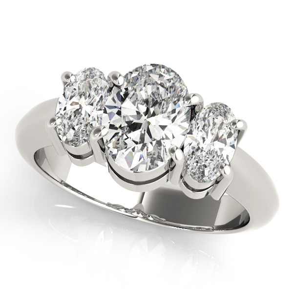Classic Three Stone Oval Diamond Engagement Ring