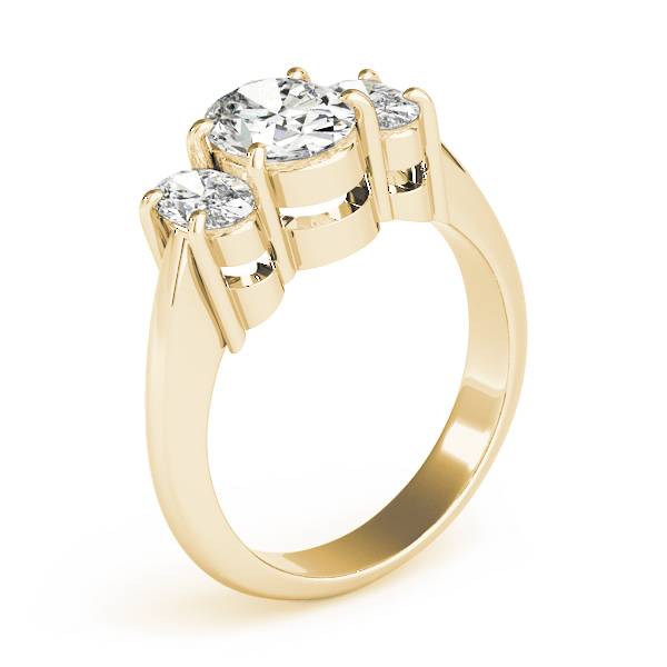 Classic Three Stone Oval Diamond Engagement Ring in Yellow Gold