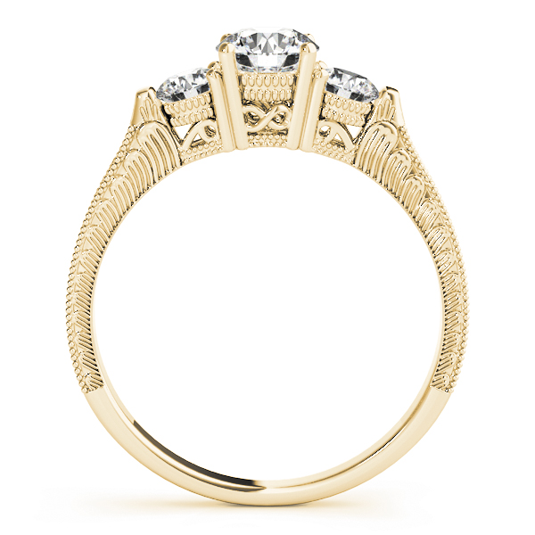 Three Stone Vintage Diamond Engagement Ring with Engraving in Yellow Gold
