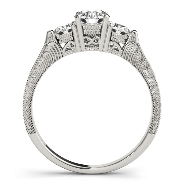 Three Stone Vintage Diamond Engagement Ring with Engraving