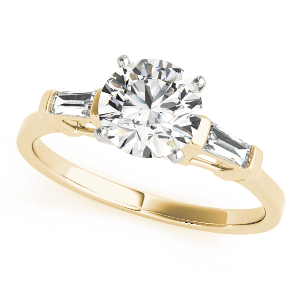 Classic Tapered Baguette Cut Diamond Engagement Ring in Yellow Gold