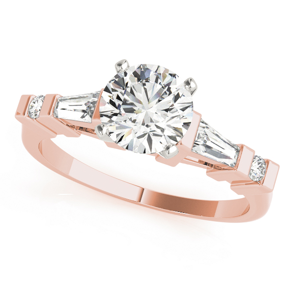 Baguette & Round Diamond Engagement Ring in Rose Gold