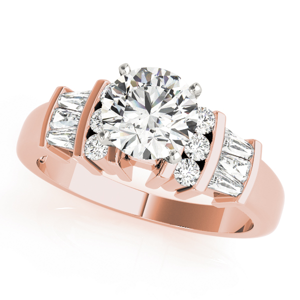 Classic Multi Row Baguette & Round Diamond Engagement Ring in Rose Gold