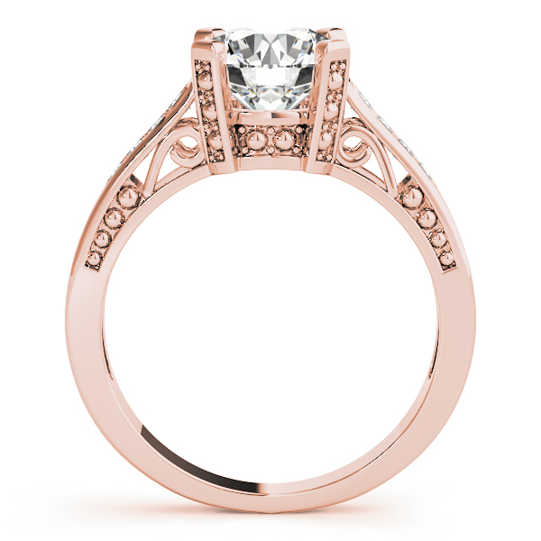 Vintage Inspired Diamond Engagement Ring in Rose Gold