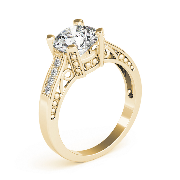 Vintage Inspired Diamond Engagement Ring in Yellow Gold