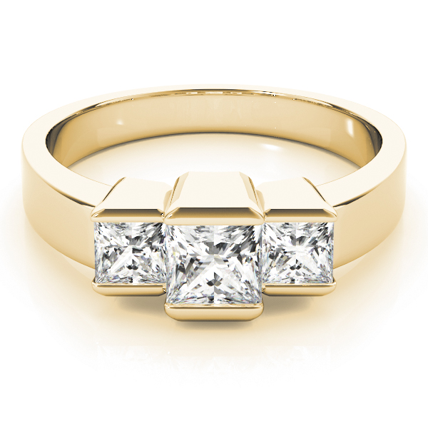 3 Stone Princess Bar Set Ring Yellow Gold