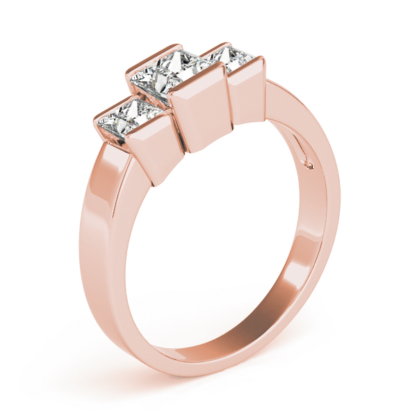 3 Stone Princess Channel Ring Rose Gold