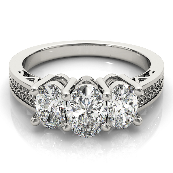 Three Stone Oval Diamond Engagement Anniversary Ring, Filigree & Engraving