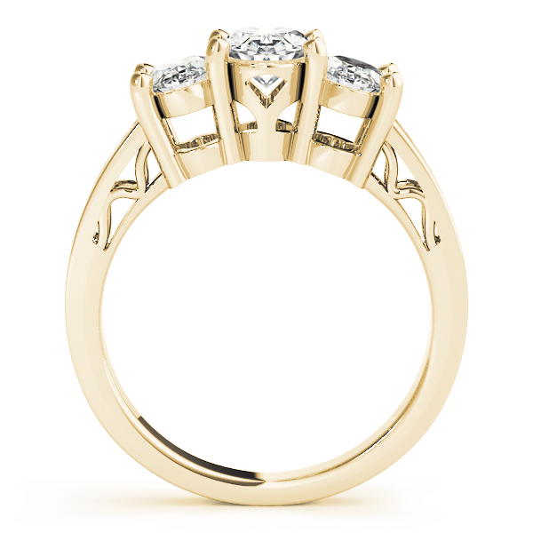 Three Stone Oval Diamond Engagement Anniversary Ring, Filigree & Engraving in Yellow Gold