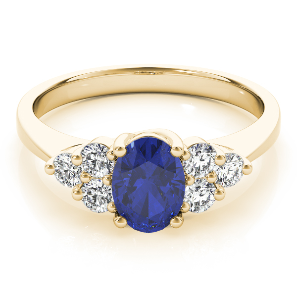 Oval Sapphire Diamond Trellis Yellow Gold