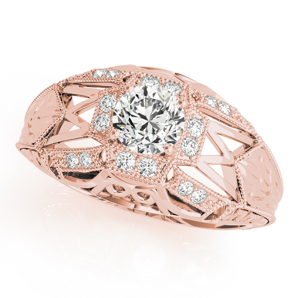 Halo Vintage Diamond Engagement Ring, Filigree & Engraving in Rose Gold