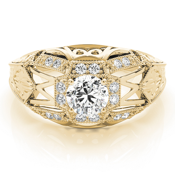 Halo Vintage Diamond Engagement Ring, Filigree & Engraving in Yellow Gold