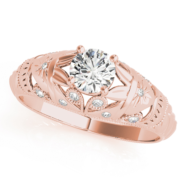 Vintage Diamond Engagement Ring with Filigree in Rose Gold