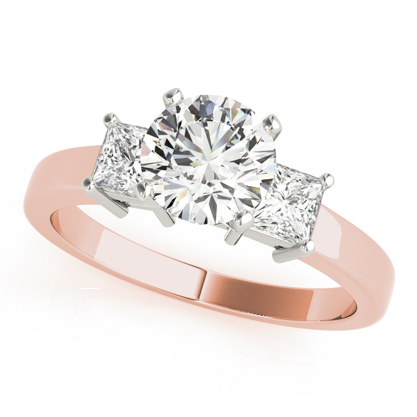 3 Stone Princess Engagement Ring Rose Gold