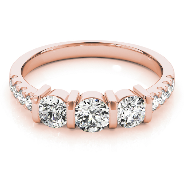 Bar Three Stone Diamond Engagement Anniversary Ring in Rose Gold