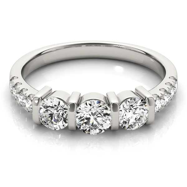 Bar Three Stone Diamond Engagement Anniversary Ring