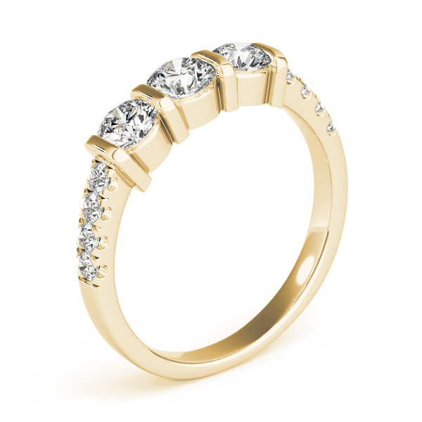 Bar Three Stone Diamond Engagement Anniversary Ring in Yellow Gold