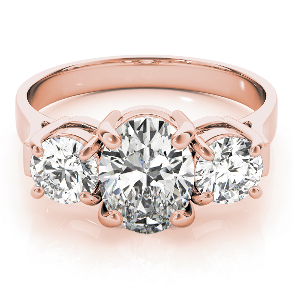 Three Stone Oval - Round Diamond Engagement Anniversary Ring in Rose Gold