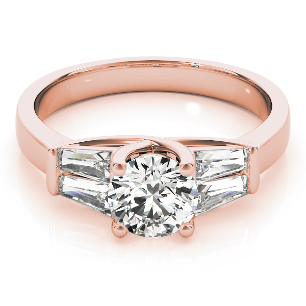 Tapered Baguette Diamond Engagement Ring in Rose Gold