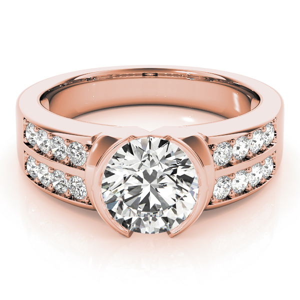 Semi Bezel Diamond Engagement Ring in Rose Gold