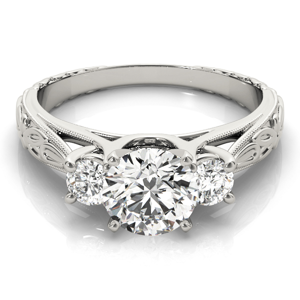 Three Stone Diamond Cathedral Trellis Engagement Anniversary Ring