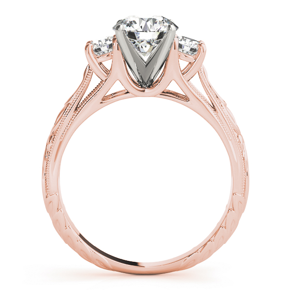 Three Stone Diamond Cathedral Trellis Engagement Anniversary Ring in Rose Gold