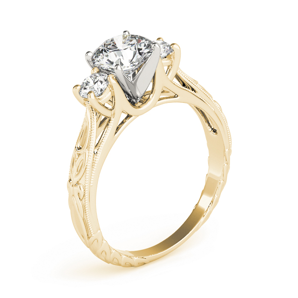 Three Stone Diamond Cathedral Trellis Engagement Anniversary Ring in Yellow Gold