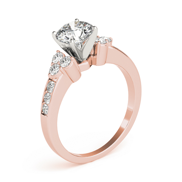 Pave Set Diamond Engagement Ring, Trio in Rose Gold