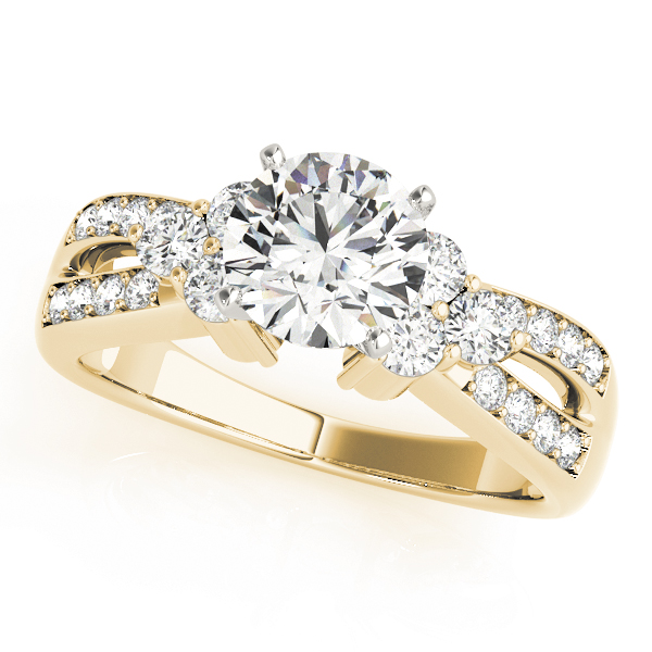 Trio Diamond Engagement Ring, Split Band in Yellow Gold