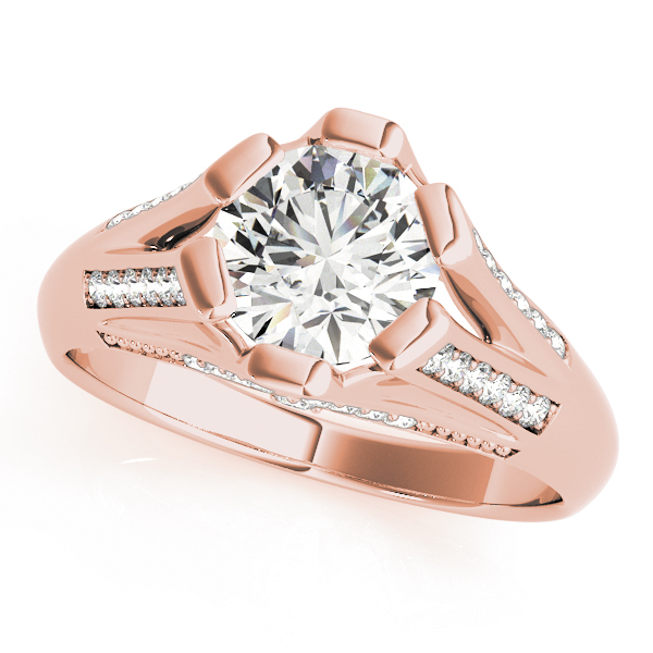 Vintage Diamond Split Band Engagement Ring in Rose Gold