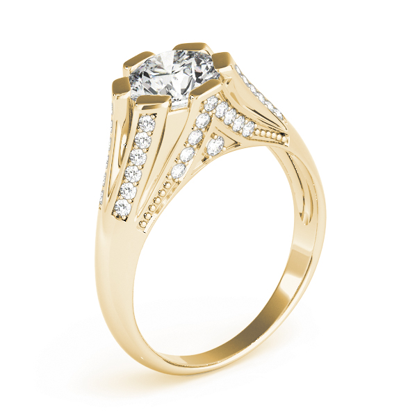 Vintage Diamond Split Band Engagement Ring in Yellow Gold