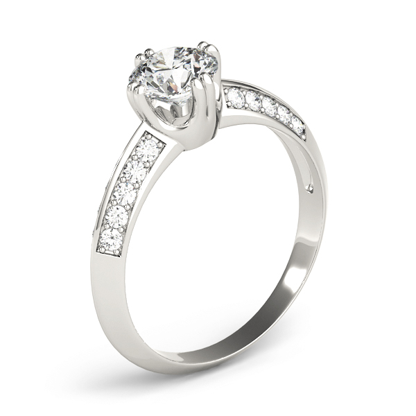 Knife Edge Petite Diamond Engagement Ring