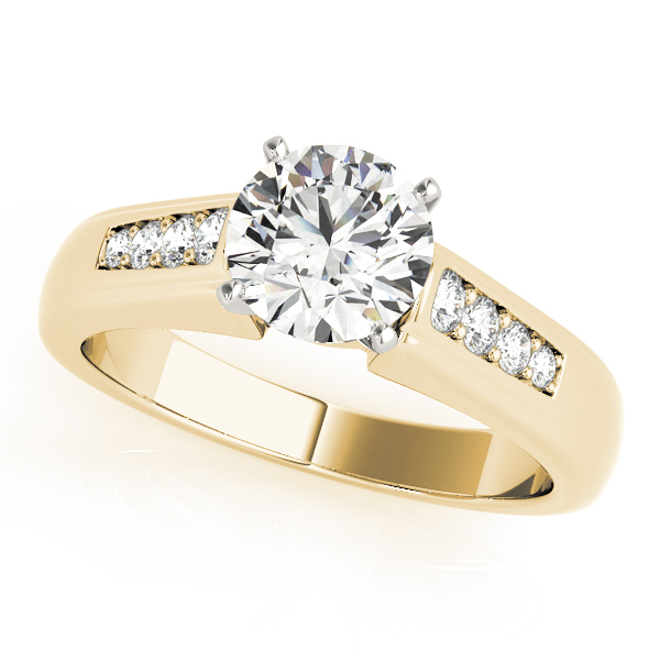 Classic Petite Pave Diamond Engagement Ring in Yellow Gold