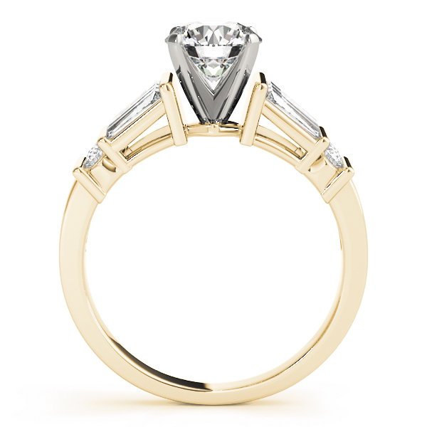 Classic Baguette & Round Diamond Engagement Ring in Yellow Gold