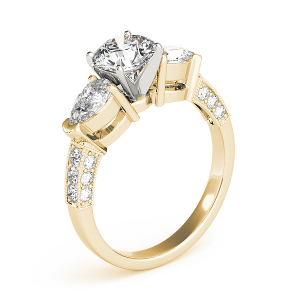 Three Stone Diamond Engagement Ring Pear Side Stones & Pave Band in Yellow Gold