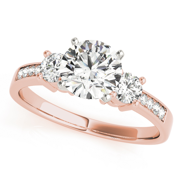 Three Stone Diamond Engagement Anniversary Ring in Rose Gold