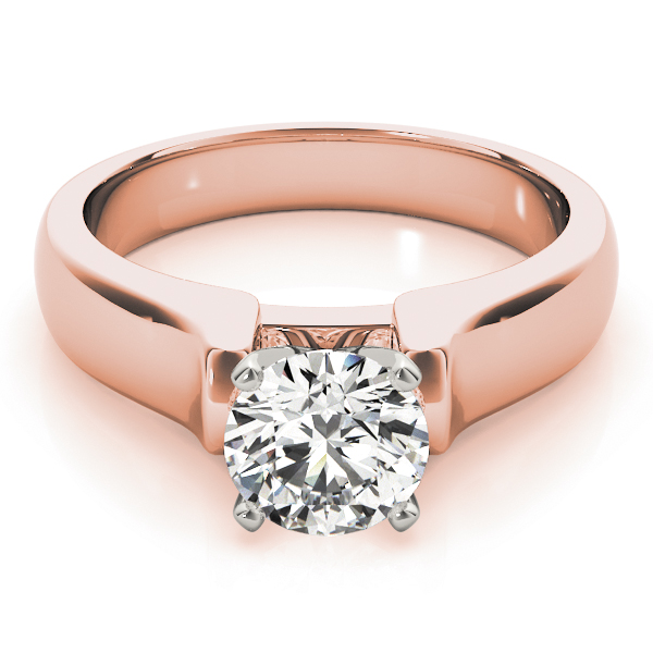 Solitaire Dome Engagement Ring in Rose Gold