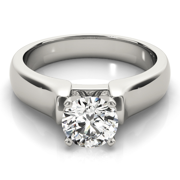 Platinum Solitaire Dome Engagement Ring