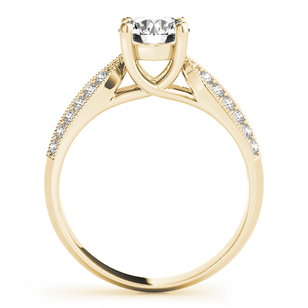 Trellis Knife Edge Diamond Engagement Ring in Yellow Gold