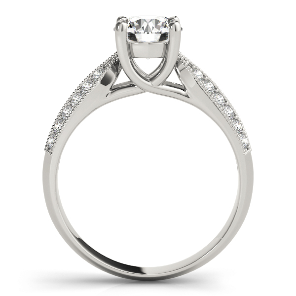 Diamond Trellis Knife-Edge Pave  Engagement Ring